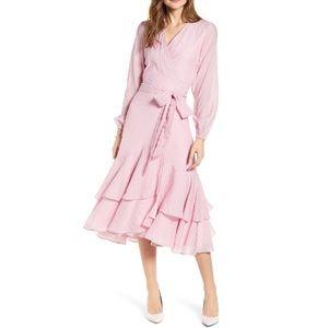 NWT RACHEL PARCELL | ruffle wrap midi dress